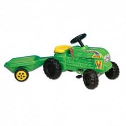DOHÁNY detský farmársky traktor Turbo s vlečkou zelený