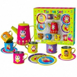 Detská čajová súprava - pestrofarebná so sovami