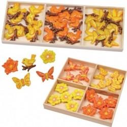 Dekorácie v krabičke - kvietky, motýliky, vtáčiky