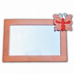 Detské zrkadlo s drevenou dekoráciou - oranžové Peach