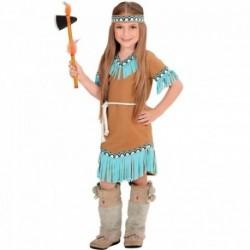 Detský karnevalový kostým - Indiánka hnedo-modrá veľ.116cm