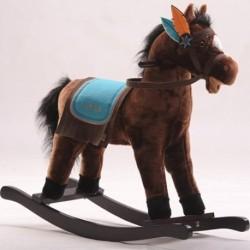 Detský plyšový hojdací koník so zvukmi - JOLLY RIDE tmavo-hnedý