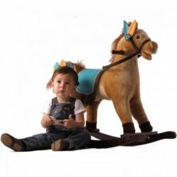 Detský plyšový hojdací koník so zvukmi - JOLLY RIDE bledo-hnedý