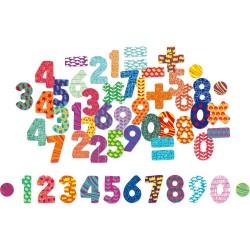 Drevené magnetky - číslice a znaky 56 kusov