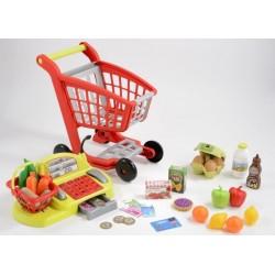 ÉCOIFFIER detský nákupný vozík s potravinami a pokladňa 100% Chef + 44 doplnkov