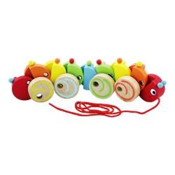 Drevená hračka na ťahanie - húsenica