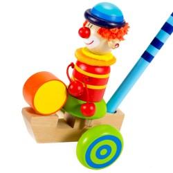 Drevená hračka na tlačenie - Klaun so zelenými kolieskami