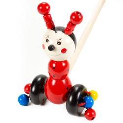 Drevená hračka na tlačenie - Lienka