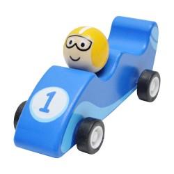 Drevené autíčko na zotrvačník - Formula modrá