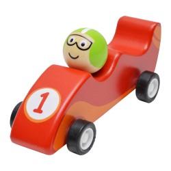 Drevené autíčko na zotrvačník - Formula červená