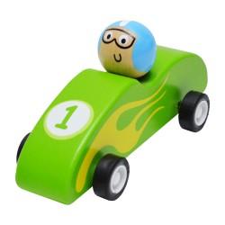 Drevené autíčko na zotrvačník - Formula zelená