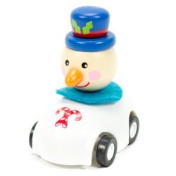 Drevené autíčko na zotrvačník - Snehuliak