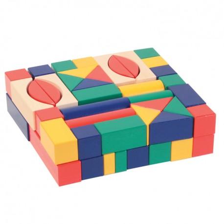 Drevené kocky farebné 3 cm-ové - 62 ks