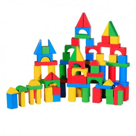 Drevené kocky - 100 kusové - farebné