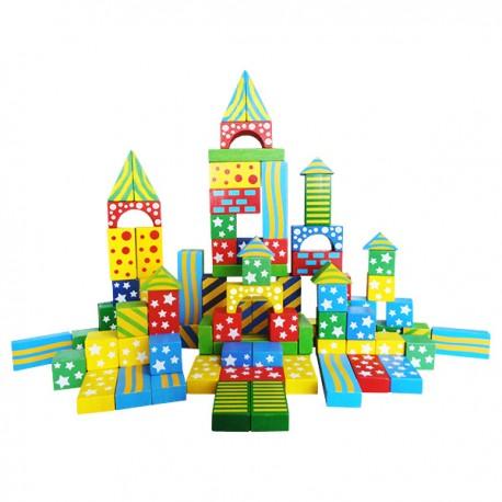 Drevené kocky - 100 kusové - farebné so vzormi