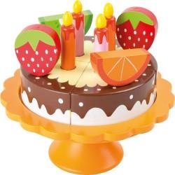 Drevená narodeninová tortička na podstavci