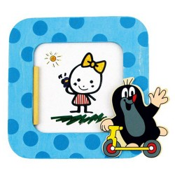 Detský drevený rámik na fotku - Krtko modrý