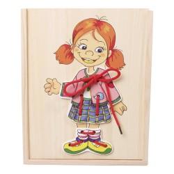 Drevené puzzle v krabičke - obliekanie - Dievčatko