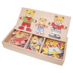 Drevené puzzle v krabičke - obliekanie - Medvedia rodinka 3-členná