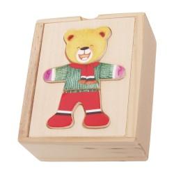 Drevené puzzle v krabičke - obliekanie mini - Macko