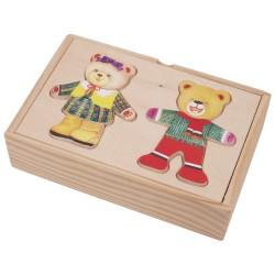 Drevené puzzle v krabičke - obliekanie mini - Medvedica a macko