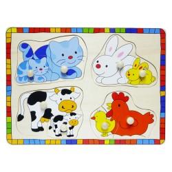 Drevené puzzle s úchytkou - Domáce zvieratká a ich mláďatá