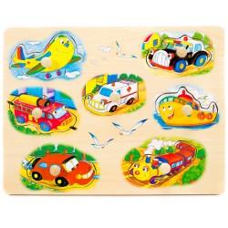 Drevené puzzle s úchytkou - Dopravné prostriedky
