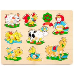 Drevené puzzle s úchytkou - Ovečka a jej kamaráti