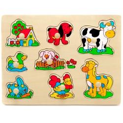 Drevené puzzle s úchytkou - Zvieratká na dvore