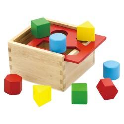 Drevená krabička na vkladanie tvarov - červená