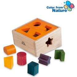 Drevená krabička na vkladanie tvarov - oranžová