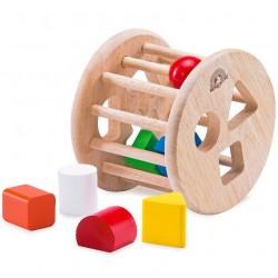 Drevená krabička na vkladanie tvarov - valec prírodný