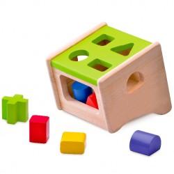 Drevená krabička na vkladanie tvarov - zelená