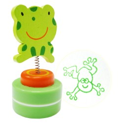 Detská pečiatka s drevenou ozdobou - Žabka