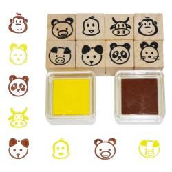 Detské pečiatky - 10-dielna sada - hlavy zvieratiek