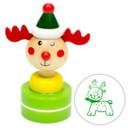 Detská drevená pečiatka vianočná - Jelenček