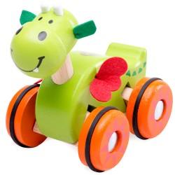 Drevená hračka na kolieskach - drak