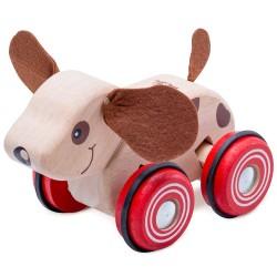 Drevená hračka na kolieskach - psík