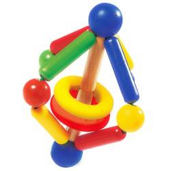 Drevená hrkálka pre bábätká - s krúžkami v strede