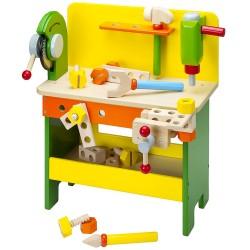 Detský pracovný stôl z dreva - žlto-zelený
