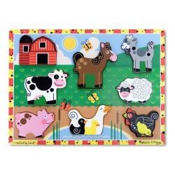 Drevené obrázkové puzzle s hrubými dielikmi - Farma
