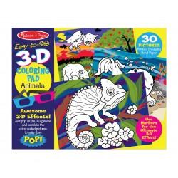 3D omaľovánka s okuliarmi - divoké zvieratká