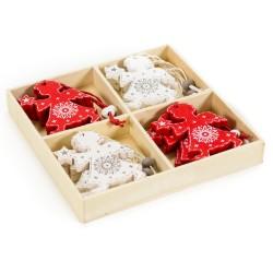 Drevené ozdoby na vianočné stromčeky - anjeliky v drevenej krabičke