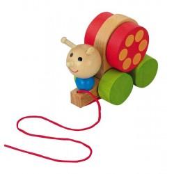 DETOA Drevená hračka na ťahanie - Slimáčik