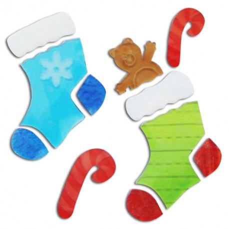 Vianočné nálepky na okná - ponožky