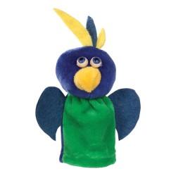 Prstová plyšová maňuška - Papagáj zeleno-modrý