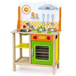 Detská drevená kuchynka - oranžovo-zelená s doplnkami