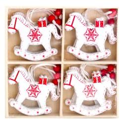 Drevené ozdoby na vianočný stromček 12 ks - hojdacie koníky - biele