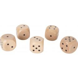 Drevená hracia kocka Giant - 4 cm natur - 5 kusov
