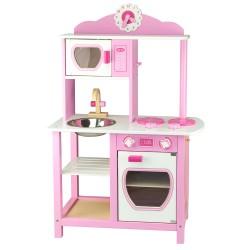 detská drevená kuchynka ružová